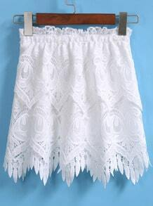 White Elastic Waist Lace Skirt