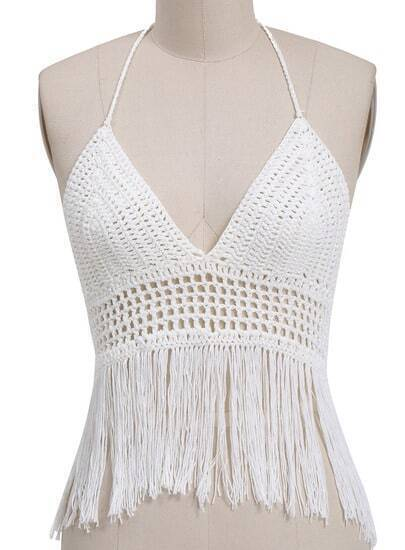White Halter Hollow Tassel Lingerie