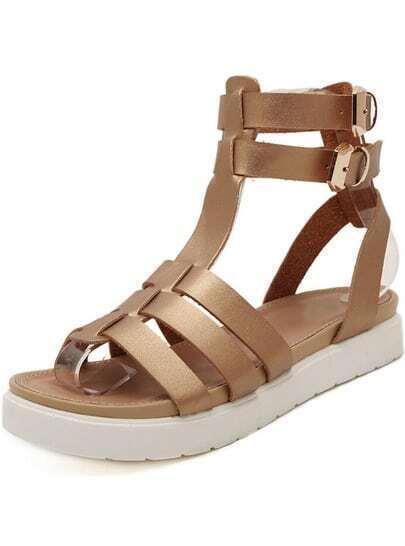 Gold Strappy Slingbacks Flat Sandals