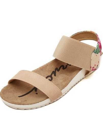 Apricot Ankle Strap Florals Flat Sandals