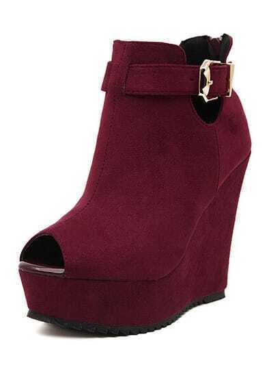 Wine Red Buckle Strap Wedge Peep Toe Pumps