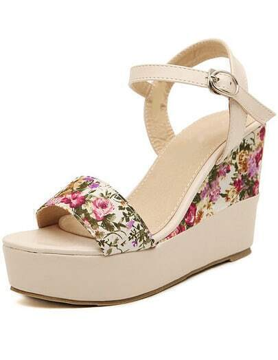 Apricot Slingbacks Florals Wedge Sandals
