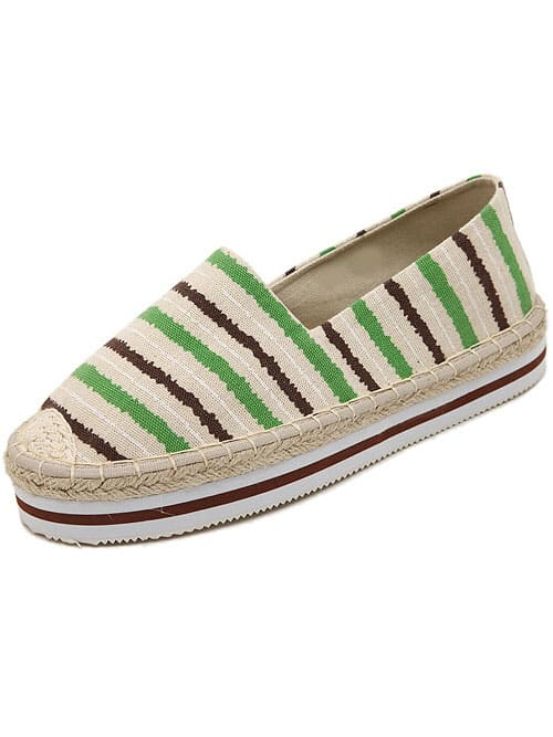 Pale Green Round Toe Striped Flat Shoes
