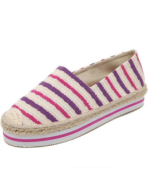 Pink Round Toe Striped Flat Shoes