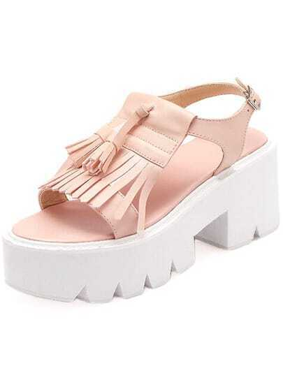 Pink With Tassel Bottomed Sandals