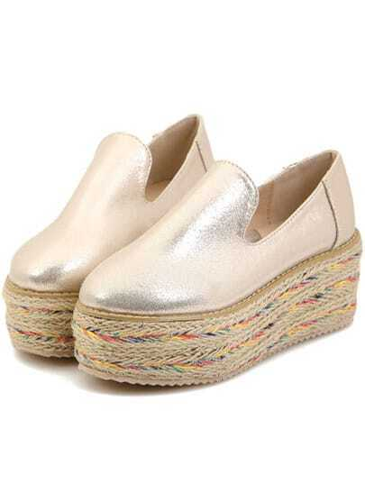 Gold Round Toe Espadrille Bottomed Shoes