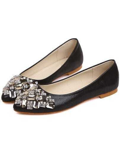 black with rhinestone flat shoes shein sheinside