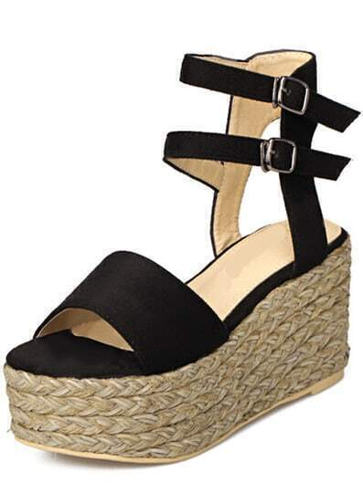Black Ankle Strap Espadrille Wedge Sandals