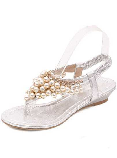 White With Pearl Flip Sandals