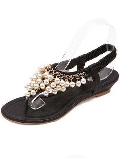 Black With Pearl Flip Sandals
