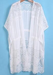 White Short Sleeve Lace Drawstring Blouse