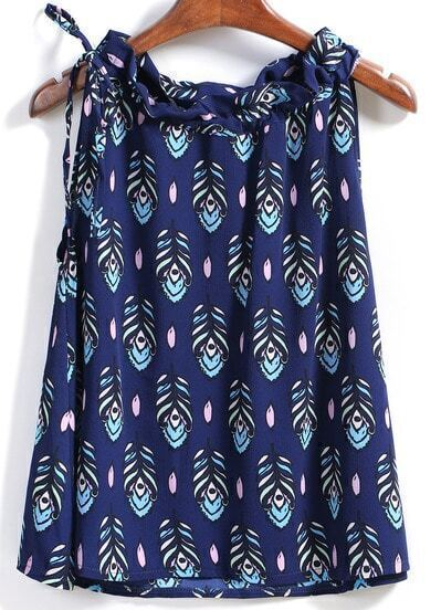 Blue Sleeveless Ruffle Leaves Print Tank Top