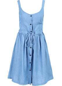 Blue Strap Drawstring Waist Buttons Dress