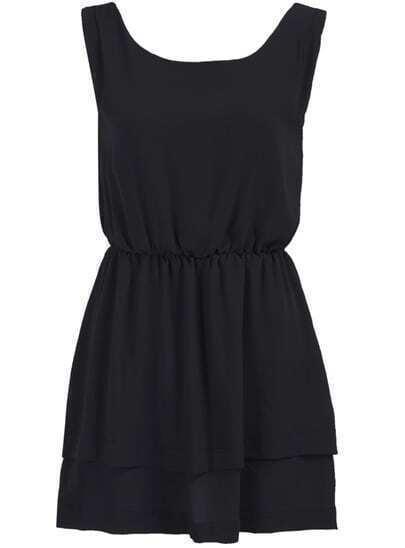 Black Scoop Neck Sleeveless Chiffon Dress