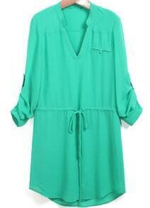 Green V Neck Drawstring Loose Shirt Dress