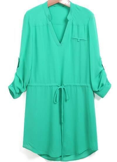 Green V Neck Drawstring Loose Shirt Dress