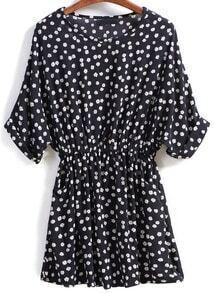 Black Round Neck Floral Pockets Dress