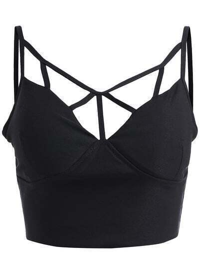 Black Spaghetti Strap Hollow Crop Lingerie