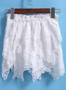White Elastic Waist Asymmetrical Lace Skirt