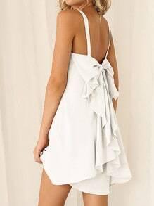 White Strap Bow Ruffle Dress