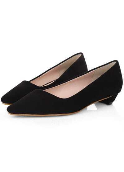 Black Square Toe Low Heeled Pumps
