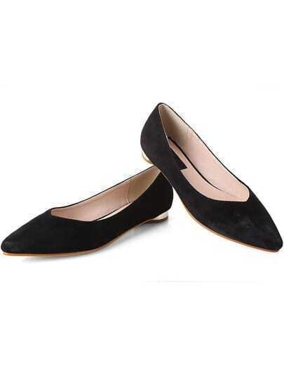 Black Brush Pointed Toe Flats