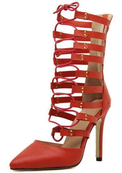 Red Back Zipper Lace Up High Heeled Boots