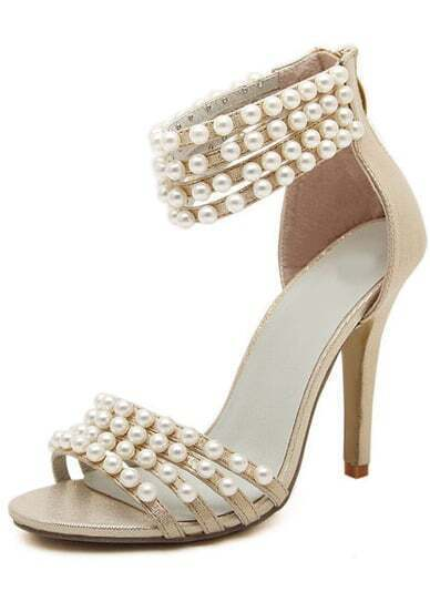 Gold With Pearl High Heeled Sandals