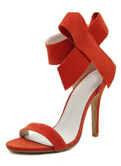 Orange With Bow Back Zipper High Heeled Sandals