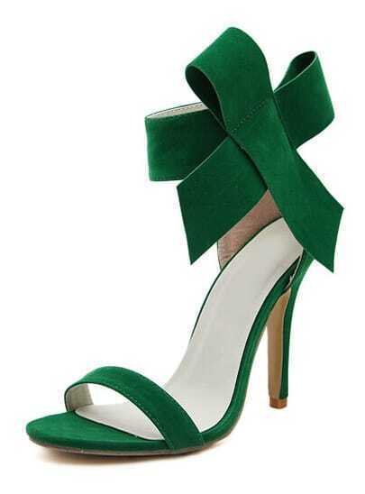 Green With Bow Back Zipper High Heeled Sandals
