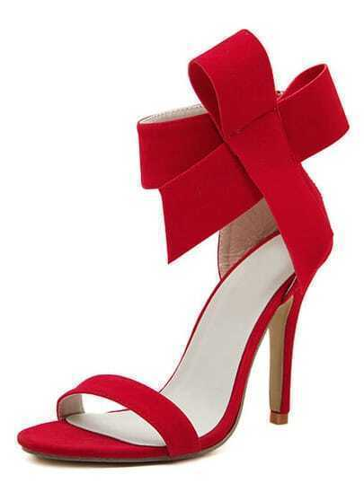 Red With Bow Back Zipper High Heeled Sandals