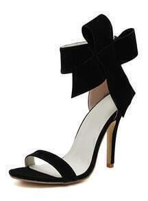 Black With Bow Back Zipper High Heeled Sandals