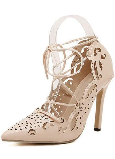 Apricot Lace Up Hollow High Heeled Pumps