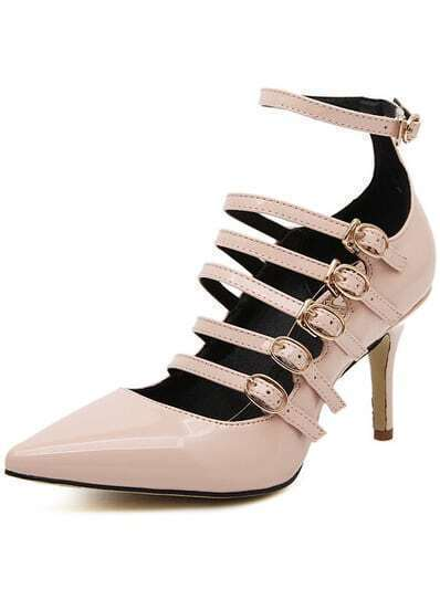 Pink Point Toe Buckle Strap High Heeled Pumps