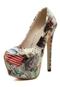 Apricot Marilyn Monroe Print High Heeled Pumps