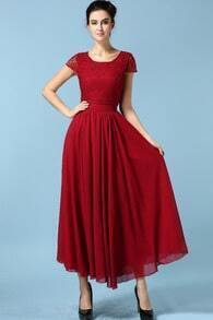 Wine Red Drapery Short Sleeve Lace Chiffon Dress