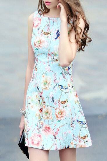 Blue Sleeveless Floral Jacquard A Line Dress