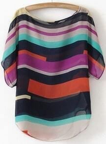 Multicolor Short Sleeve Striped Chiffon Blouse