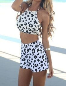 White Criss Cross Back Leopard Top With Shorts