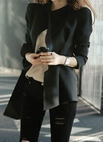 Black Long Sleeve Slim Asymmetrical Coat