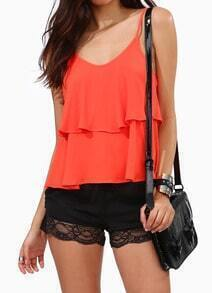 Orange Spaghetti Strap Ruffle Chiffon Cami Top