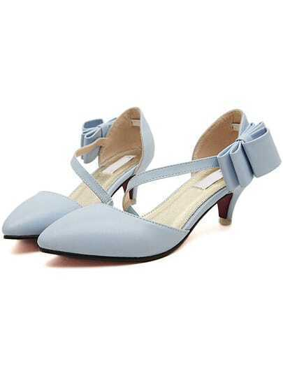 Blue With Bow Side Cutout Mid Heeled Pumps