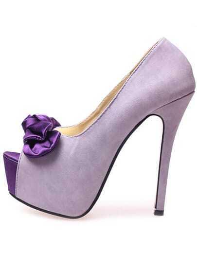 Purple With Bow High Heeled Peep Toe Pumps