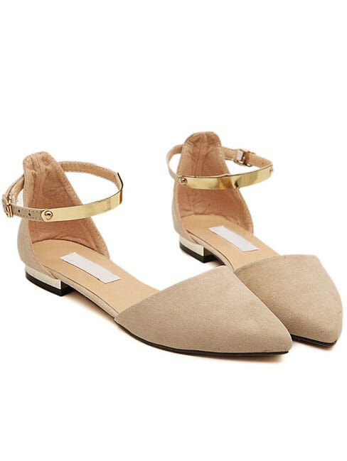 Apricot Point Toe Metallic Slingbacks Flats