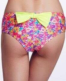 Multicolor Floral Bow Embellished Bikini Pant