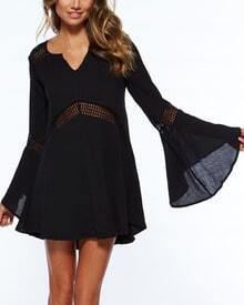 Black V Neck Long Sleeve Hollow Dress
