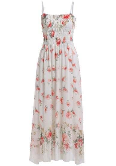 White Spaghetti Strap Floral Maxi Dress