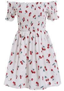White Boat Neck Cherry Print Flare Dress
