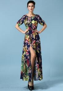 Royal Blue Boat Neck Floral Split Dress