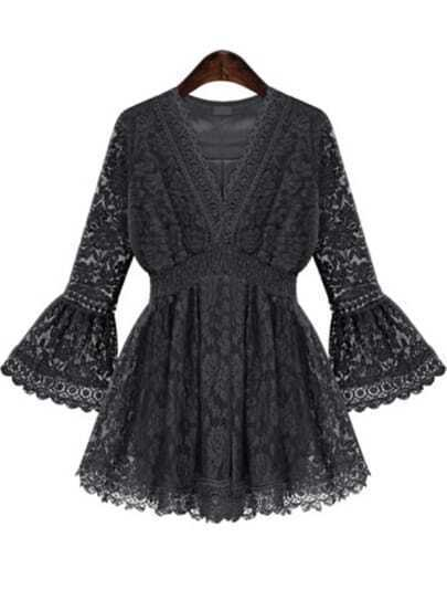 Black V Neck Bell Sleeve Lace Dress